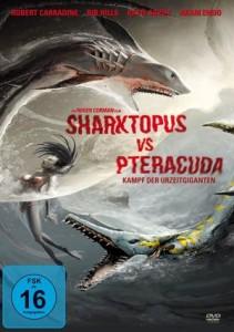 DVD-Cover von Sharktopus_vs_Pteracuda: Eine Schwimmerin zwischen den beiden bizarren Mischwesen.