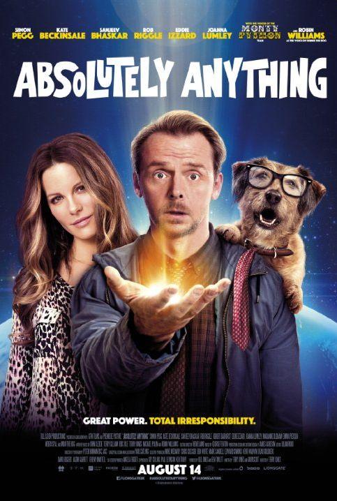 Filmplakat von Absolutely Anything: EIne Frau, ein Mann und ein Hund schauen in die Kamera.