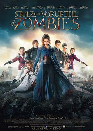 Filmplakat von Pride and Prejudice and Zombies: Menschen in blutbespritzten eleganten Regency-Kleidern, umgeben von den grauen Leichenhänden einer Zombiehorde.