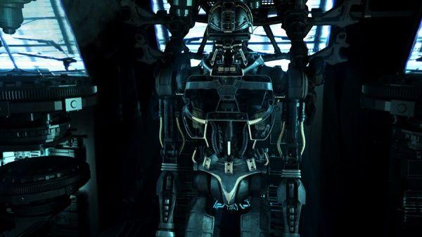 Das Innere eines Cylonen-Kampfroboters.