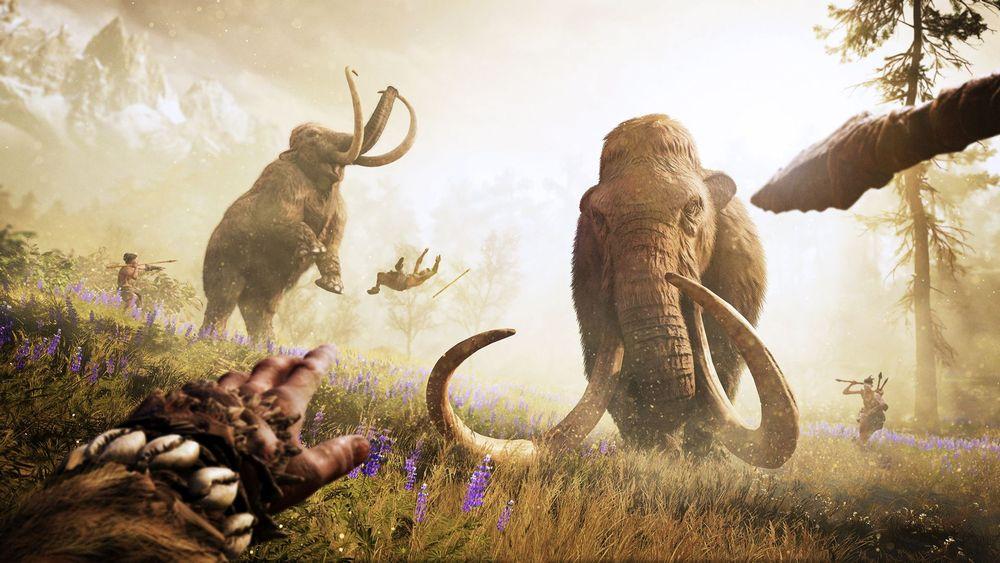 Szene aus Far Cry Primal: Zwei Mammuts werden von Höhlenmenschen angegriffen.