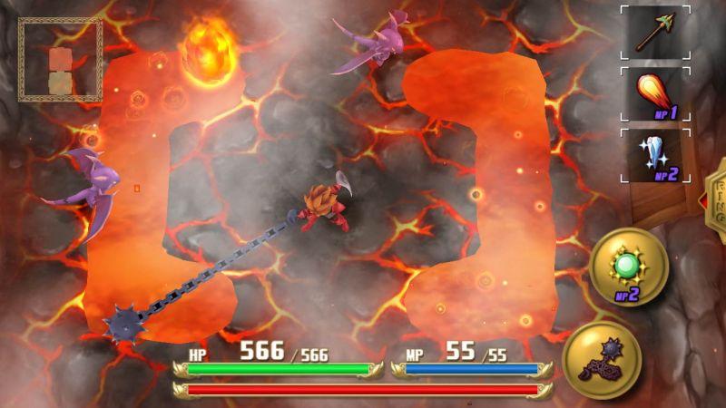 Screenshot aus Adventures of Mana: Der Held kämpft mit seinem Morgenstern in einer Lavalandschaft gegen lilafarbene Drachenwesen.
