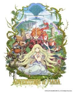 Die Figuren aus Adventure of Mana, eine blonde Prinzessin und ein rothaariger Schwertkämpfer sowie weitere Fantasy-Figuren.