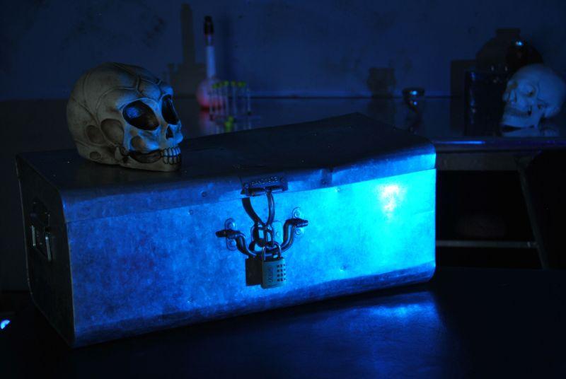 Requisiten aus dem Quexit-Escape Room Alien: Eine verschlossene Truhe, darauf ein Alienschädel, im Hintergrund Reagenzgläser und ein menschlicher Schädel.