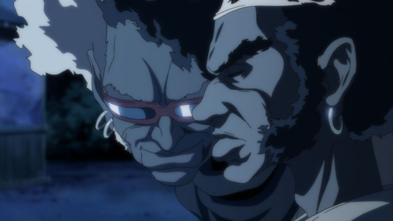 Szene aus Afro Samurai: Zwei Schwarze Männer, einer mit weißen Haaren und Sonnenbrille, einer mit schwarzen Haaren und Stirnband.