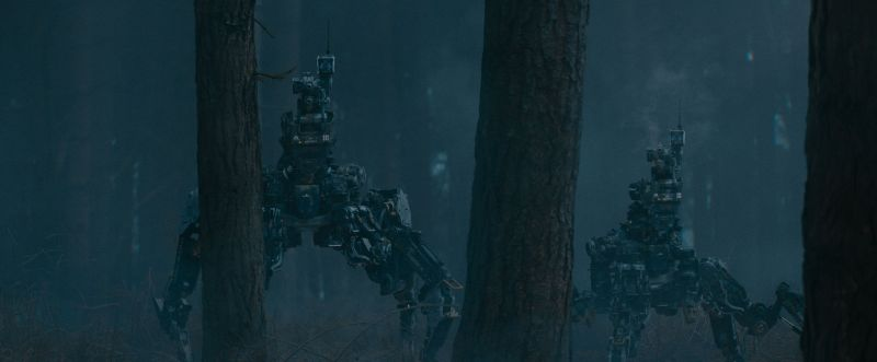 Szene aus Kill Command: Zwei vierbeinige Roboter stehen im Wald