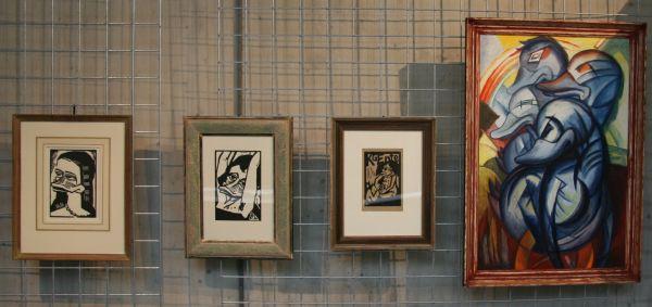 Expressionistische Kunstwerke mit Enten.