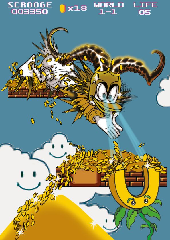 Onkel Dagobert in Diablo-mäßiger Rüstung springt in Super Mario-Landschaft in Goldhaufen.