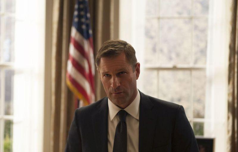 Ein blonder Mann mit markanten Gesichtszügen vor einer amerikanischen Flagge.