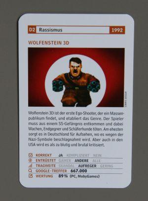 Spielkarte mit dem Pixel-Hitler aus Wolfenstein 3D