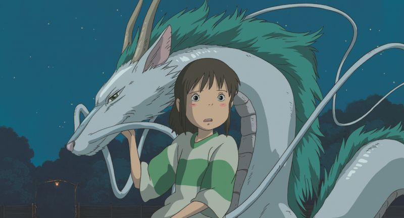 Ein kleines Mädchen und ein asiatischer Drache im Anime-Stil.