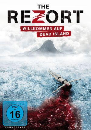 Cover von The Rezort: Eine junge Frau im Bikini treibt auf dem Wasser, eine Blutspur hinter sich herziehend.