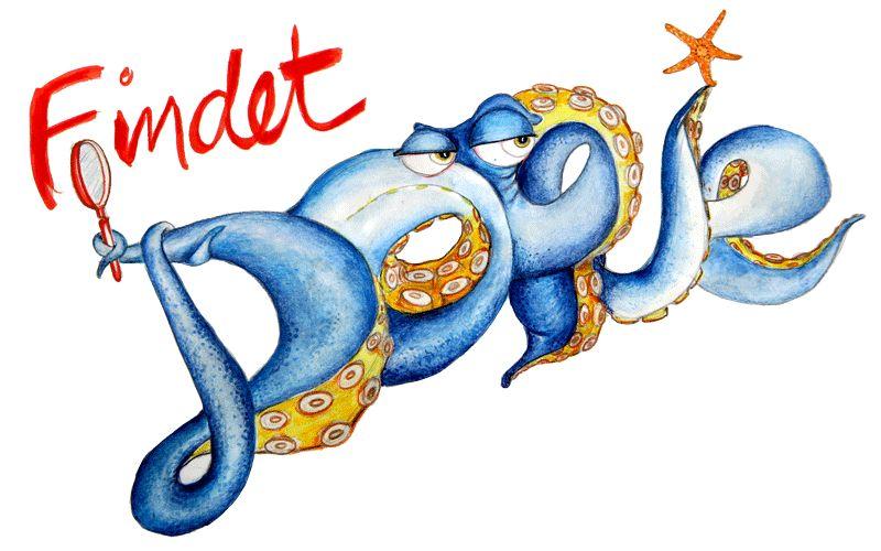 Der Schriftzug Findet Dorie, das Wort Dorie wird von einem Tintenfisch gebildet