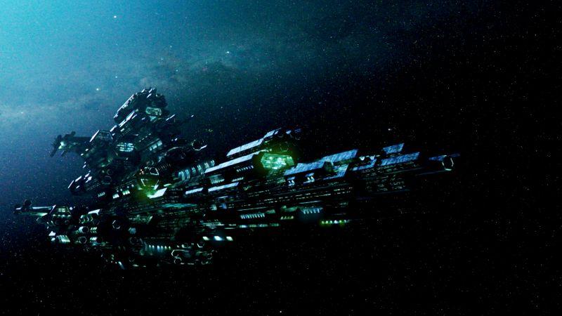 Ein martialisch aussehendes Raumschiff.