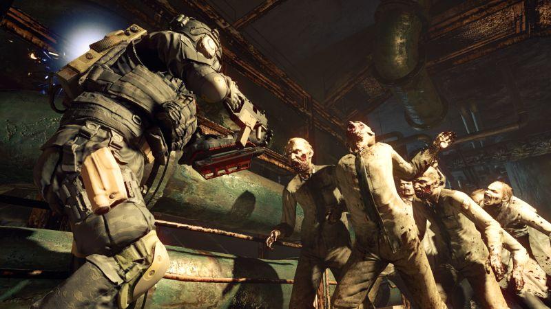 Eine Person in schwerer Kampfpanzerung wird von Zombies angegriffen.