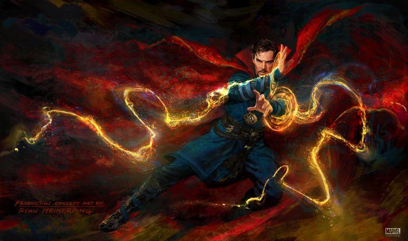 Ein Mann schwebt in der Luft, um seine Hände spielen gelbe blitzartige Energien, er trägt einen wallenden roten Mantel.