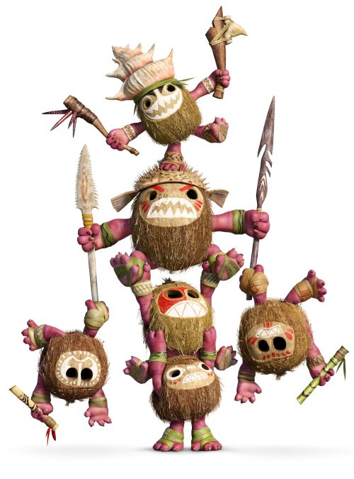 sechs Kokosnüsse mit Armen, Beinen und gefährlich aussehenden Fratzen