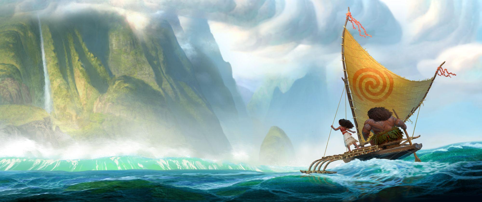 Ein Kanu auf dem Meer, darin ein breit gebauter Mann und eine junge Frau. Im Hintergrund hohe, von Pflanzen überwucherte Klippen.