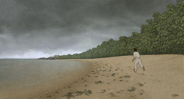 Ein Mann rennt am Strand entlang, im Hintergrund verfinstert sich der Himmel.