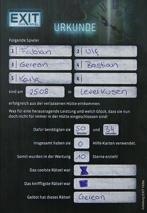 Urkunde für das Bestehen von Die verlassene Hütte.