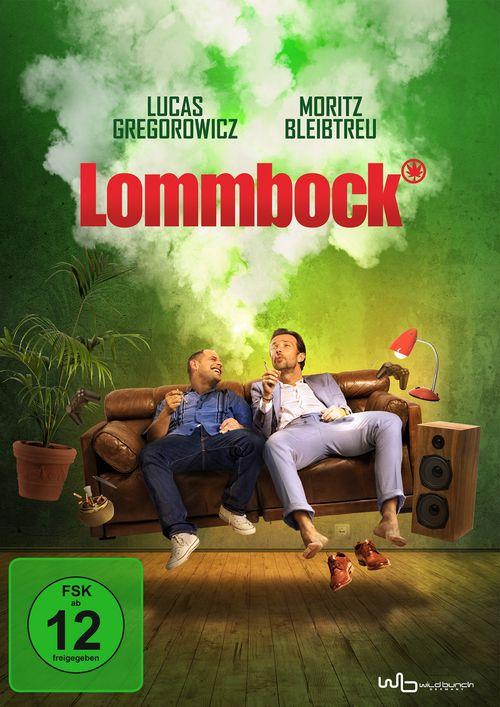Cover der Lommbock-DVD, zwei Männer sitzen amüsiert und rauchend auf einer schwebenden Couch.