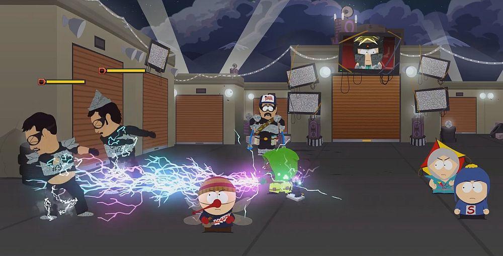 Screenshot aus South Park: Die rektakuläre Zerreißprobe. Zwei Charaktere schießen Blitze auf ihre Gegner.
