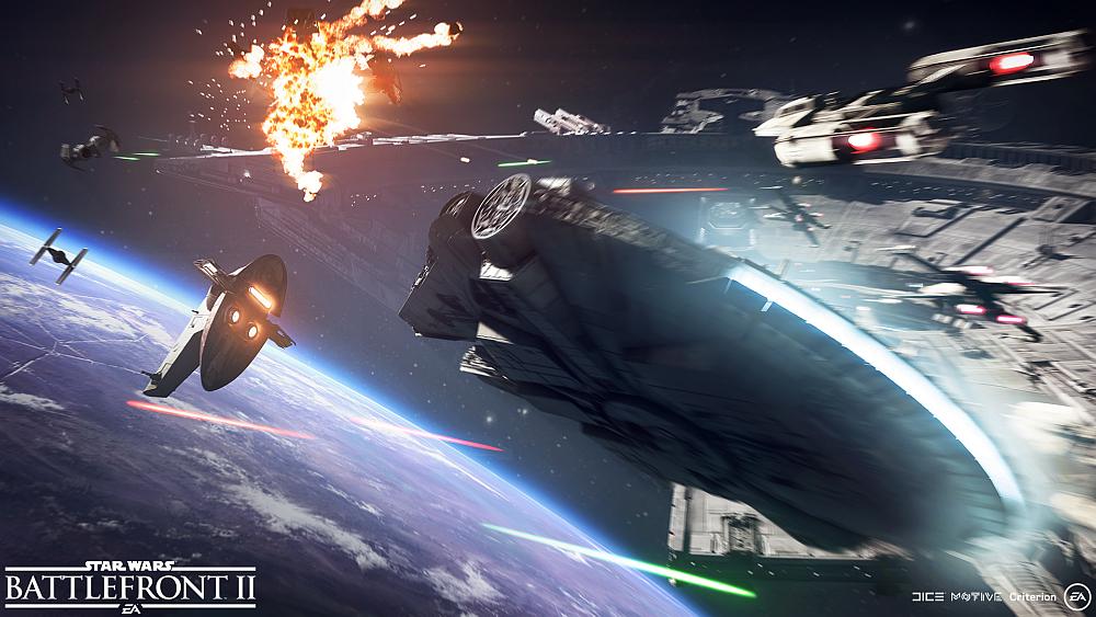 Eine Raumschlacht im Star Wars-Universum, der Milliumfalke schießt auf Slave 1.