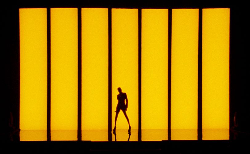 Die schwarze Silhouette einer Frau vor einer gelben Fläche.