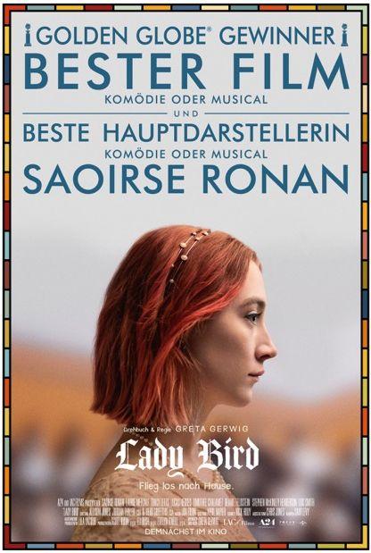 Plakat von Lady Bird, eine junge Frau im Profil.