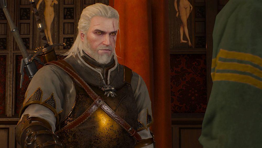 Ein Mann mit weißen Haaren und Katzenaugen: Geralt der Hexer in The Witcher 3.
