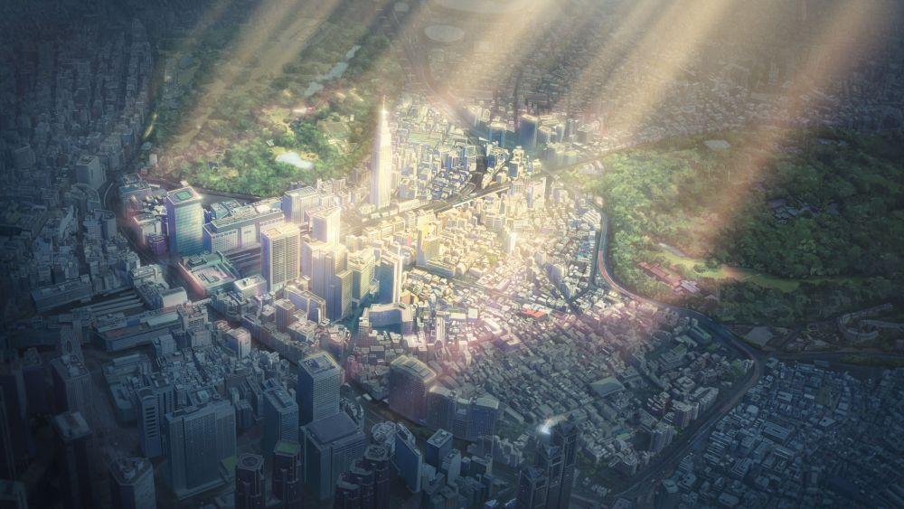 eine Großstadt, Teile von ihr werden von der Sonne hell erhleuchtet