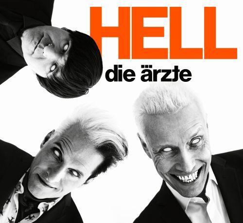 Albumcover von Hell. Die Ärzte (Bela, Farin, Rod) schauen mit weißen Augäpfeln in die Kamera.