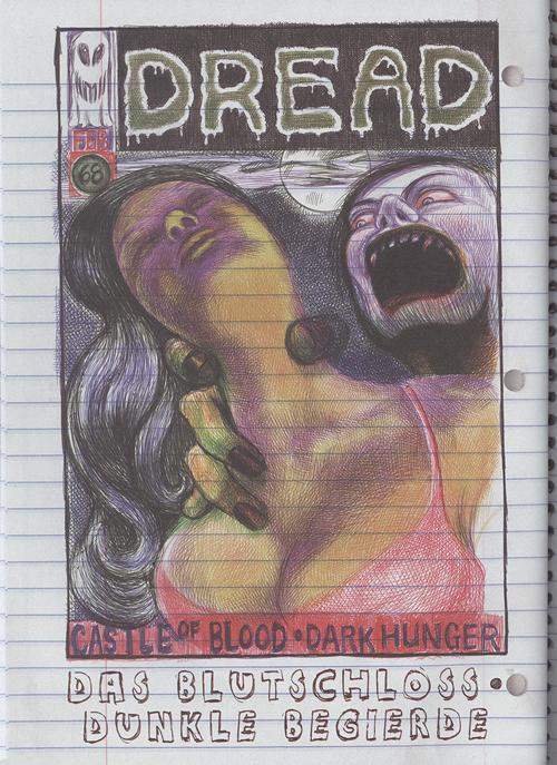 Seite im Horrorcomicstil, auf der eine großbusige Frau von einem Unhold gewürgt wird