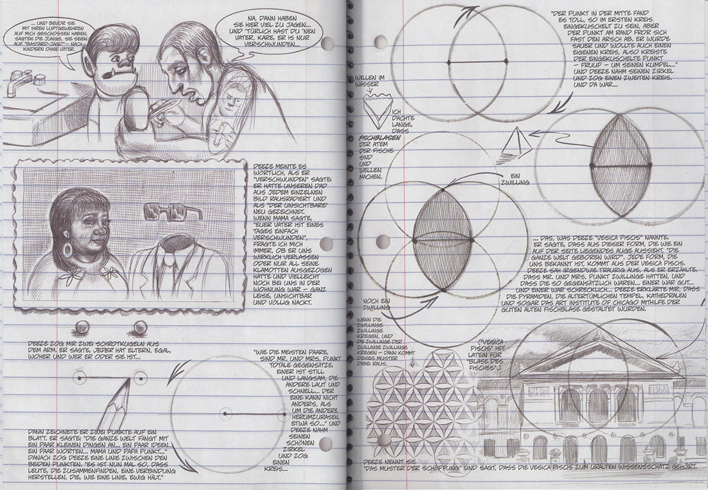 Zwei Seiten aus Am Liebsten mag ich Monster mit Zeichnungen der Vesica Piscis, der Schnittmenge zweier überlappender Kreise