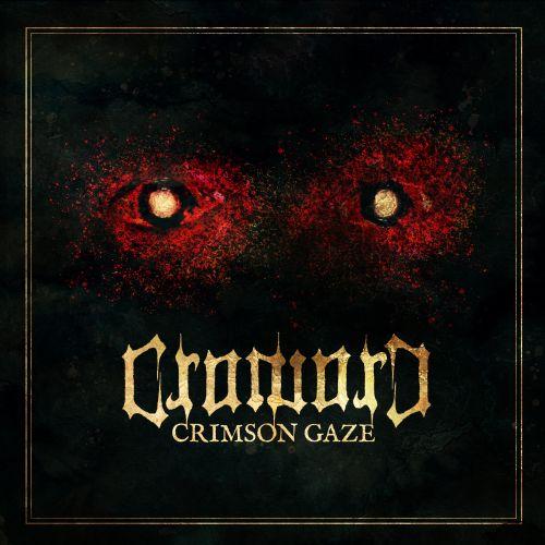 Cover von Crimson Gaze: Zwei gelbe Himmelskörper umgeben von roten Sternnebeln auf pechschwarzem Grund.