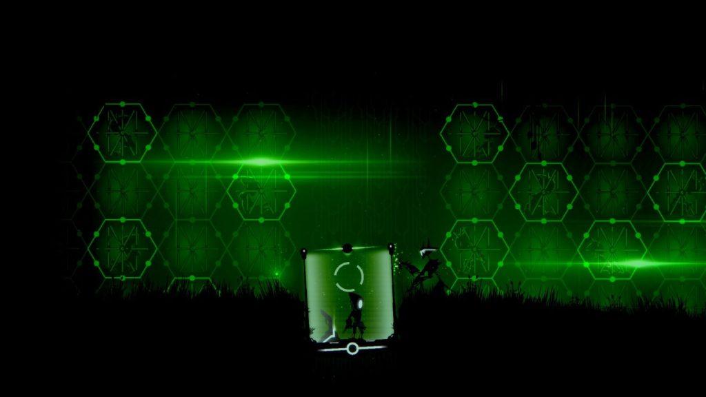Kleiner Roboter in einem Energiefeld mit einem Kampfroboter davor.