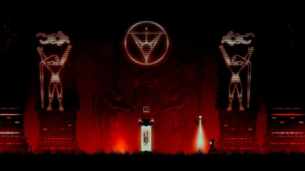 Kleiner Roboter vor zwei Hologrammen von großen Robotern, einem Logo und einem Gerät in einer Lichtsäule.