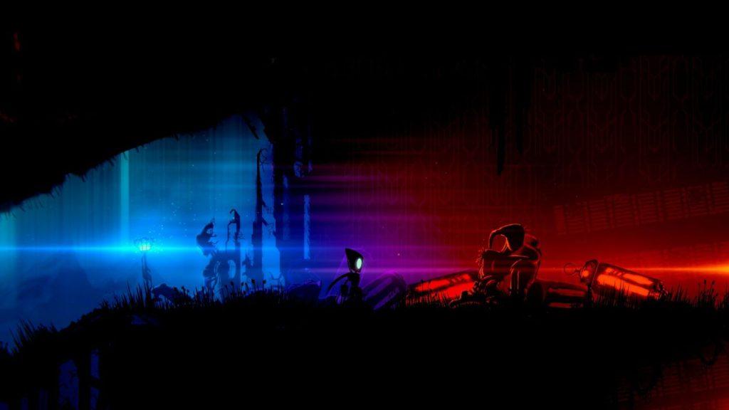 Kleiner Roboter vor blau-rot-schwarzer Ruinenlandschaft.